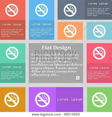 No Smoking Icon Sign. Set Of Multicolored Buttons With Space For Text. Vector