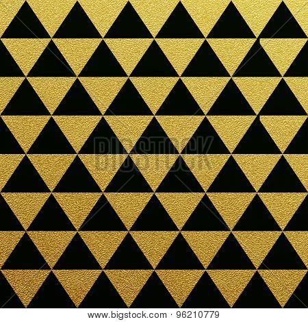 Gold glittering seamless pattern of triangles on black background.