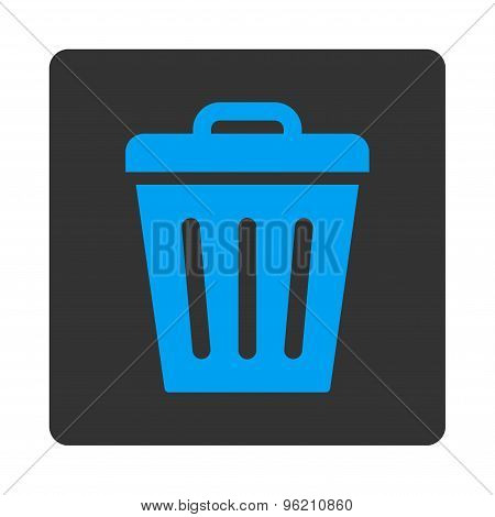 Trash Can flat blue and gray colors rounded button