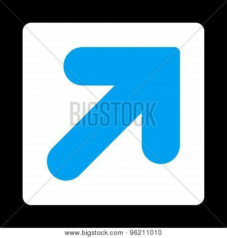 Arrow Up Right flat blue and white colors rounded button