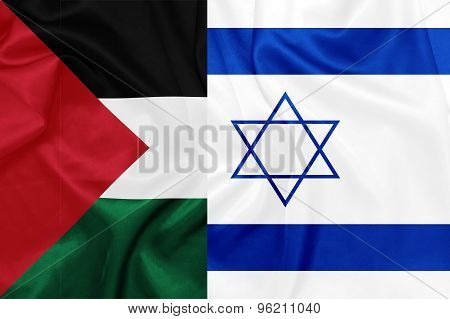 Israel - Palestine flags on silk texture