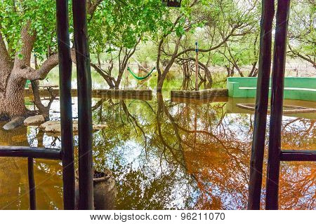 Flooded Lodge Area In Botswana.