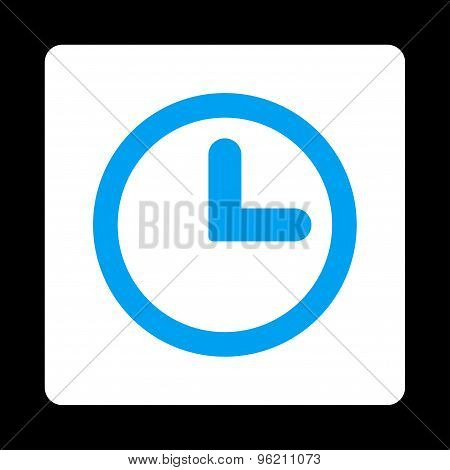 Clock flat blue and white colors rounded button