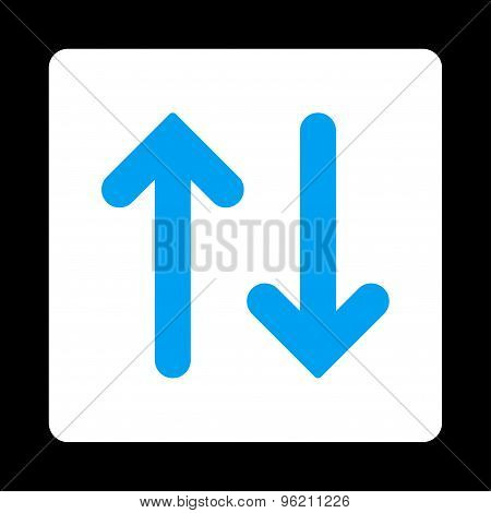 Flip Vertical flat blue and white colors rounded button