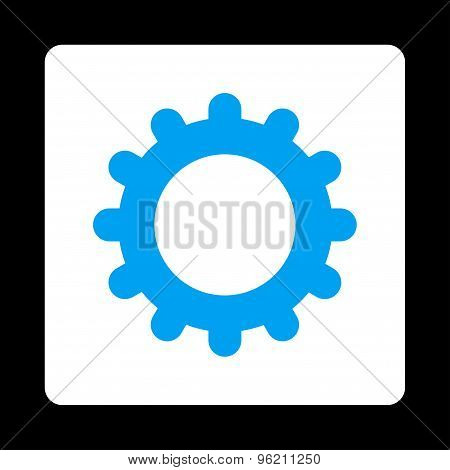Gear flat blue and white colors rounded button