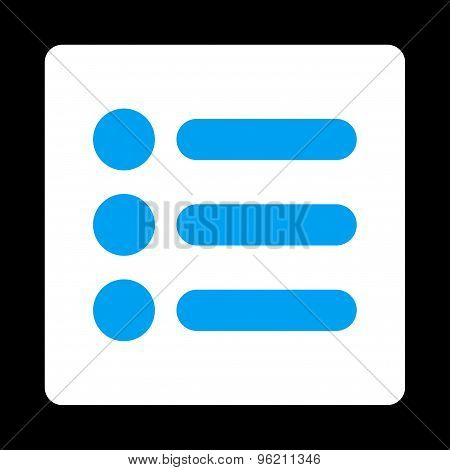 Items flat blue and white colors rounded button