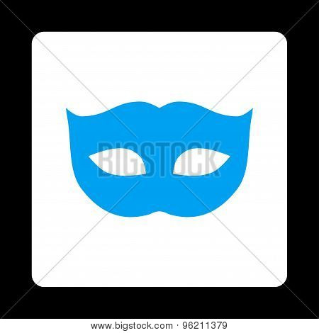 Privacy Mask flat blue and white colors rounded button