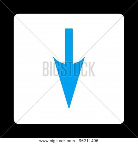 Sharp Down Arrow flat blue and white colors rounded button