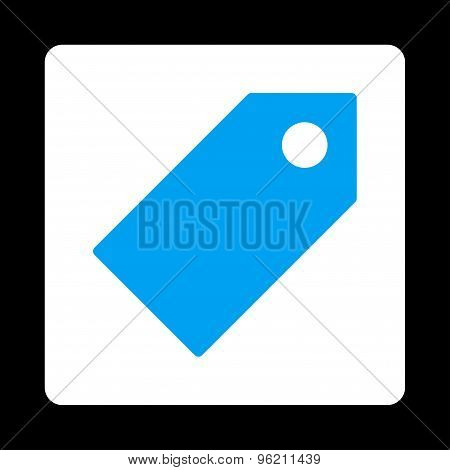 Tag flat blue and white colors rounded button