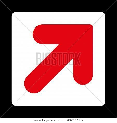 Arrow Up Right flat red and white colors rounded button