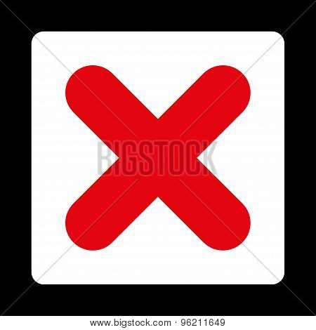 Cancel flat red and white colors rounded button