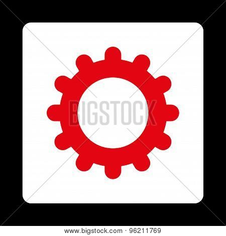 Gear flat red and white colors rounded button
