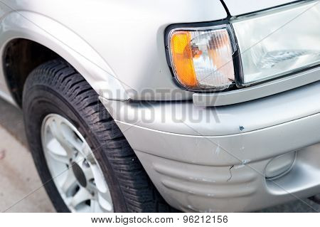 Small car damage in an accident close up