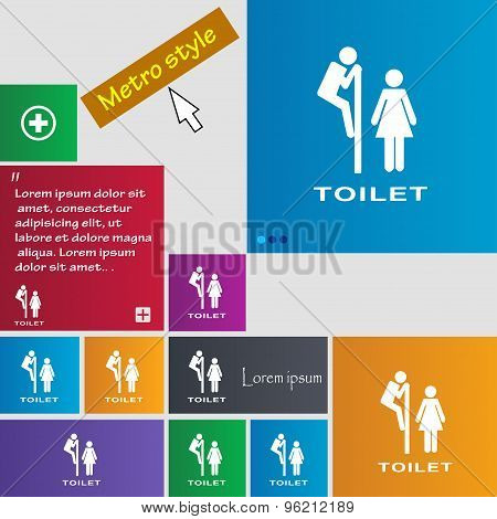 Toilet Icon Sign. Buttons. Modern Interface Website Buttons With Cursor Pointer. Vector