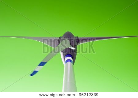 Wind Turbine Concept On Green Background