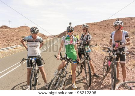 Cyclists On The Road Near Seeheim In Namibia
