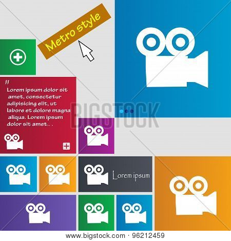 Video Camera Icon Sign. Buttons. Modern Interface Website Buttons With Cursor Pointer. Vector