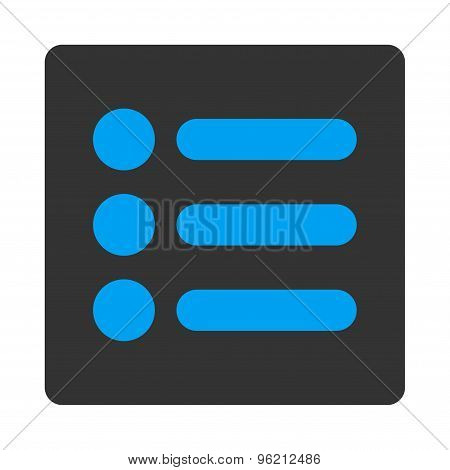 Items flat blue and gray colors rounded button
