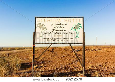 Sign On The Road For Seeheim Hotel In Namibia