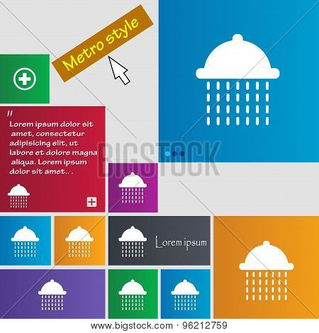 Shower Icon Sign. Buttons. Modern Interface Website Buttons With Cursor Pointer. Vector