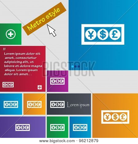 Cash Currency Icon Sign. Buttons. Modern Interface Website Buttons With Cursor Pointer. Vector