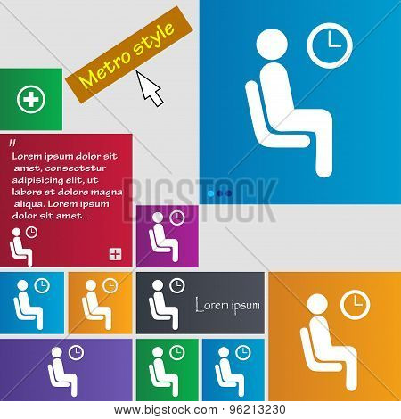 Waiting Icon Sign. Buttons. Modern Interface Website Buttons With Cursor Pointer. Vector