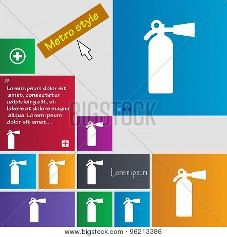 Extinguisher Icon Sign. Buttons. Modern Interface Website Buttons With Cursor Pointer. Vector