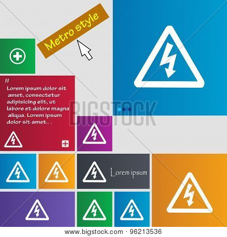Voltage Icon Sign. Buttons. Modern Interface Website Buttons With Cursor Pointer. Vector