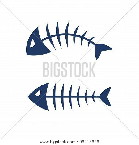 Fish bone skeleton vector icon logo design.