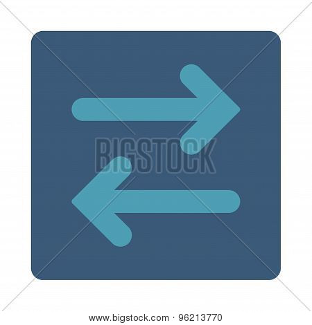 Flip Horizontal flat cyan and blue colors rounded button