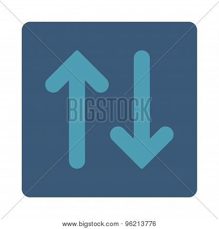 Flip Vertical flat cyan and blue colors rounded button
