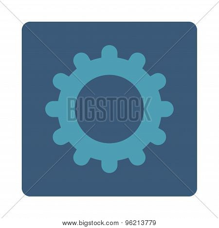 Gear flat cyan and blue colors rounded button