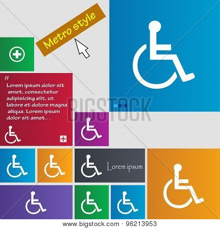 Disabled Icon Sign. Buttons. Modern Interface Website Buttons With Cursor Pointer. Vector