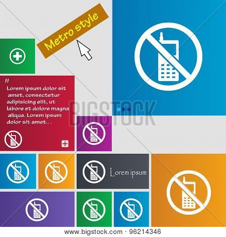Mobile Phone Is Prohibited Icon Sign. Buttons. Modern Interface Website Buttons With Cursor Pointer.