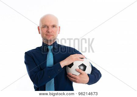 Businessman With Soccer Ball Under His Arm