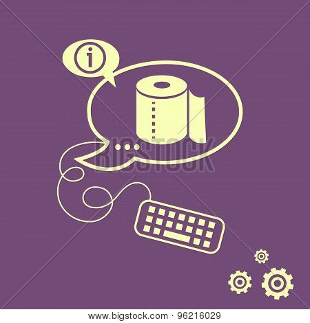 Toilet Paper Icon And Keyboard Design Elements.