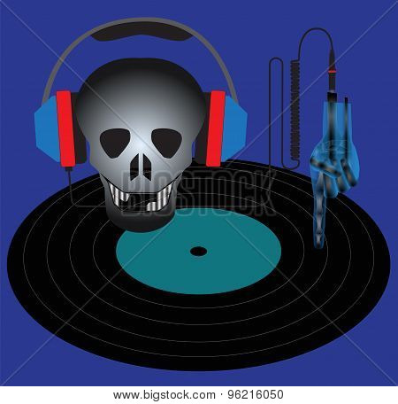 Skull With Headphones And Vinyl Record.