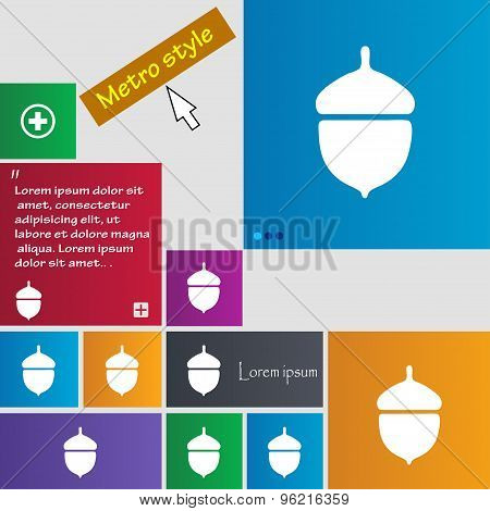 Acorn Icon Sign. Buttons. Modern Interface Website Buttons With Cursor Pointer. Vector