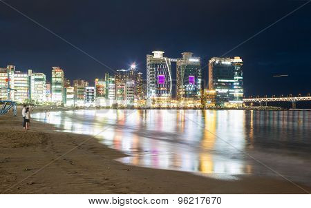 Gwangalli Beach in the nighttime. Busan, South Korea