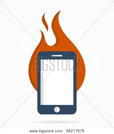 Vector logo combination of a fire and phone