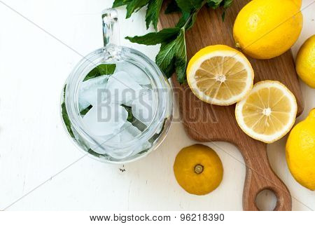 Ice And Mint In A Jug For A Cocktail, Lemon Slices