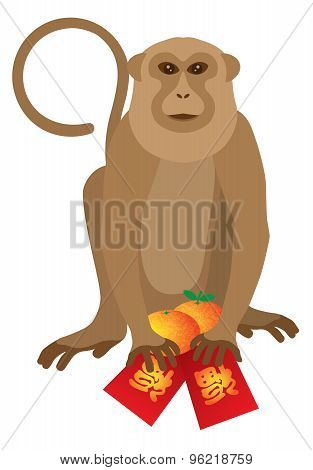 2016 Chinese Monkey With Red Packet And Oranges