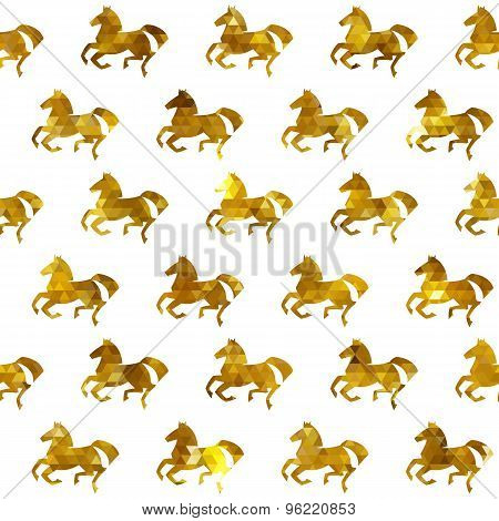 Racing horses seamless pattern. Vector background.