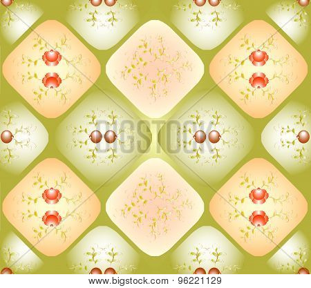 Seamless background with patterns in rhombuses. EPS10 vector illustration