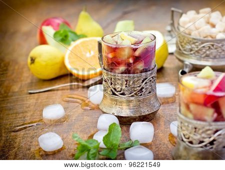 Refreshment in hot summer days - cold sangria