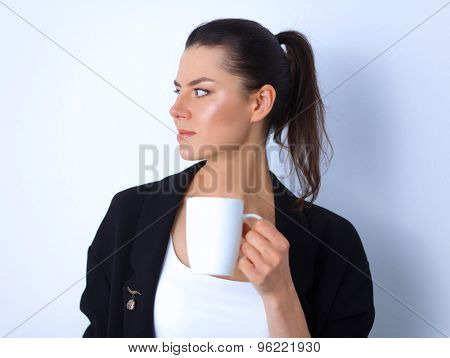 Woman holding a mug, isolated on white background