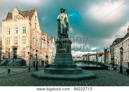 Jan Van Eyck Square and Spiegel in Bruges, Belgium