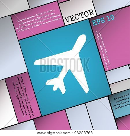 Airplane Icon Sign. Modern Flat Style For Your Design. Vector