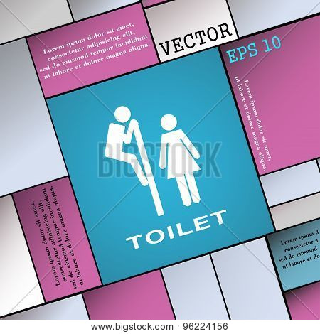 Toilet Icon Sign. Modern Flat Style For Your Design. Vector