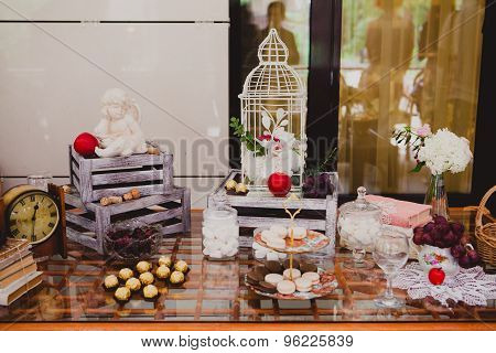 Wedding table decoration at restaurant. Candy bar